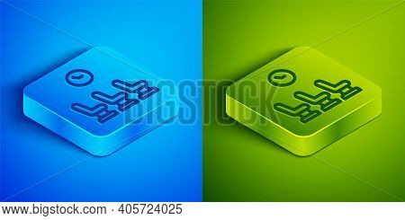 Isometric Line Waiting Room Icon Isolated On Blue And Green Background. Square Button. Vector