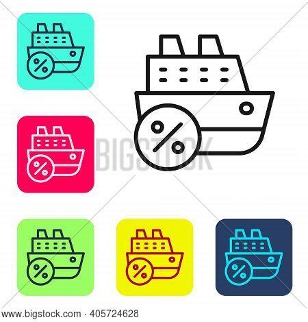 Black Line Cruise Ship Icon Isolated On White Background. Travel Tourism Nautical Transport. Voyage