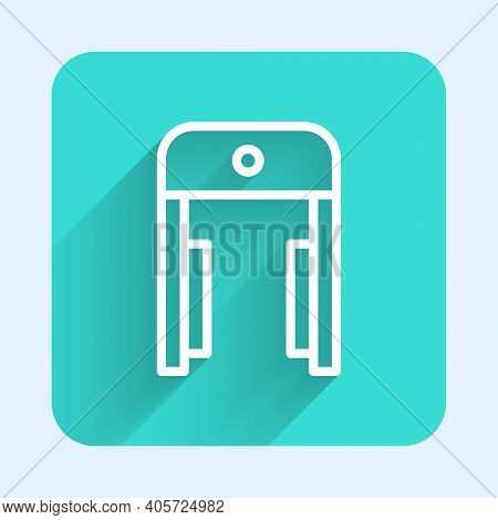 White Line Metal Detector In Airport Icon Isolated With Long Shadow. Airport Security Guard On Metal