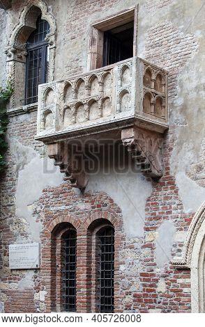 Italy, Verona -  June 24, 2013: Juliet's Balcony In Verona