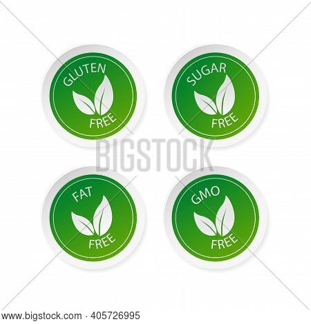 Green Sugar Free, Fat Free, Gluten Free And Gmo Free Stickers Set In Flat Style. Vector Illustration