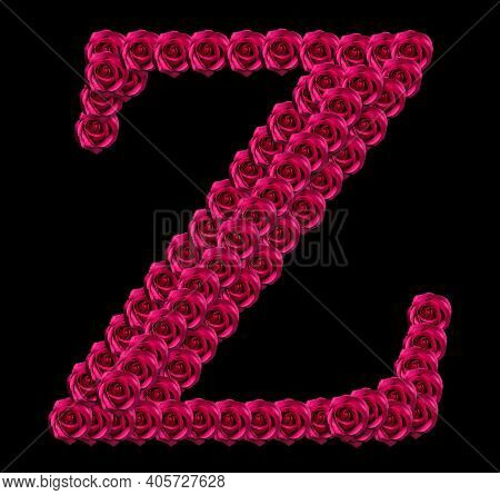 Romantic Concept Image Of A Capital Letter Z Made Of Red Roses. Isolated On Black Background. Design