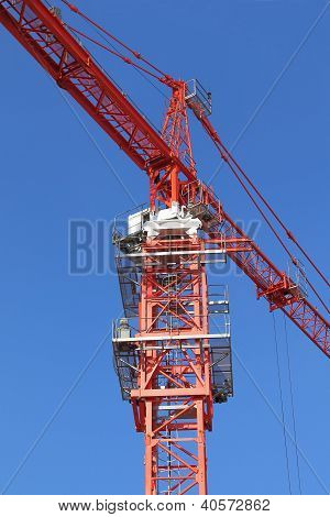 Red Building Crane