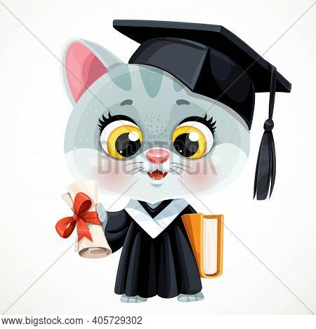 Cute Cartoon Smoky Gray Kitten Holding A Book And Diploma In Hands Isolated On White Background