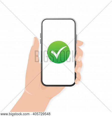 Modern Flat Icon With Green Smartphone Done Mark. Modern Cartoon Green Icon. Web Design. Vector Illu