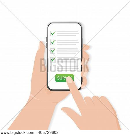 Checklist On Smartphone Screen. Online Survey Concept. Hand Holds Mobile Phone And Check List With C