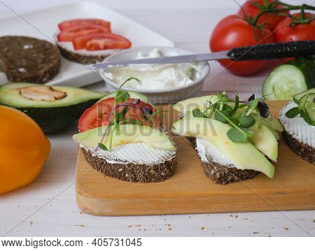 Sandwich On A Tray. Sandwich With Red Fish And Herbs. A Sandwich. Morning Sandwich. Copyspace