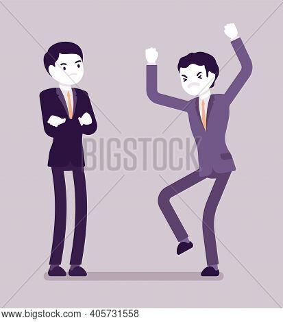 Conflict Of Interest For Businessmen, Professional, Business, Individual Benefit. Men Handling Diffi