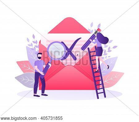 Banner For Concept Design. Check Mark Icon Vector Design. Flat Vector Character Illustration. Red Re