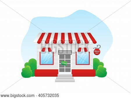 Shop Or Market Store Front Exterior Facade. Vector Illustration, Flat Design. Online Shop Payment. S
