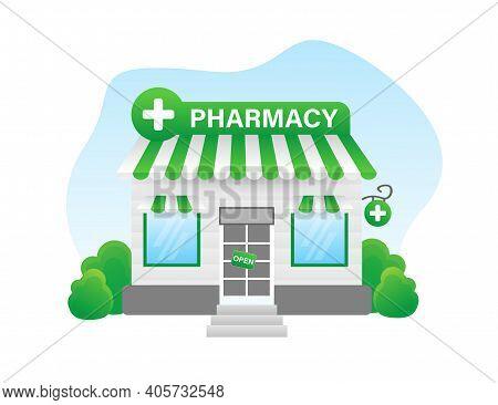 Cartoon Illustration With Pharmacy Building. Cartoon Vector People Illustration. Flat Pharmacy Build
