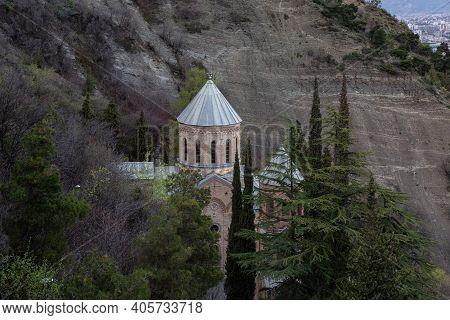 St. David S Church Mamadaviti On The Slope Of Mount Mtatsminda. Mtatsminda Pantheon Of Writers And P
