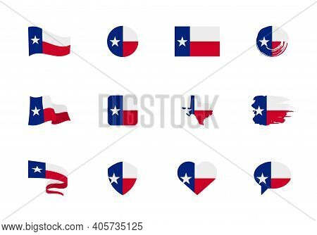Texas - Flat Collection Of Us States Flags.