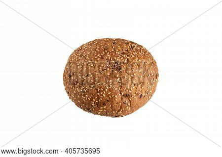 Tasty Bread Rye Bun With Seeds Isolated On A White Background.