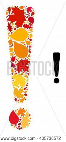 Exclamation Sign Composition Icon Created For Fall Season. Vector Exclamation Sign Mosaic Is Created
