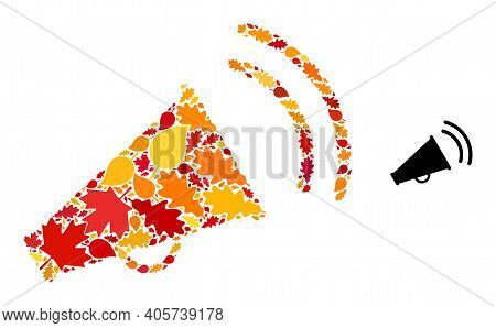 Marketing Horn Mosaic Icon Done For Fall Season. Vector Marketing Horn Mosaic Is Done From Scattered