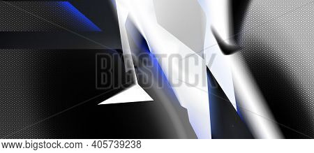 Dark Contrast Combination Light Line And Minimal Technology Shapes. Black, White Abstract Background