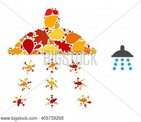 Snow Shower Mosaic Icon Done For Fall Season. Vector Snow Shower Mosaic Is Done Of Scattered Fall Ma