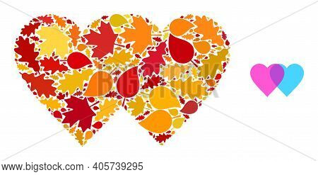 Lovely Hearts Mosaic Icon Constructed For Fall Season. Vector Lovely Hearts Mosaic Is Formed Of Scat