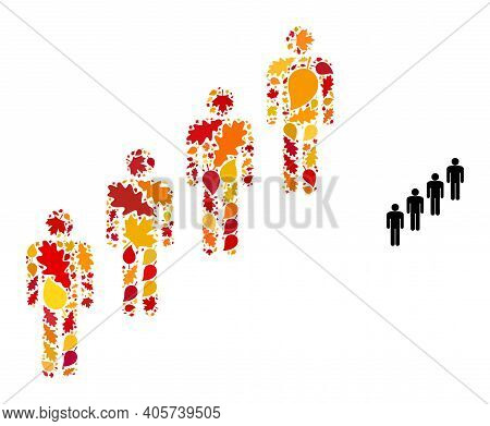 People Queue Mosaic Icon Designed For Fall Season. Vector People Queue Mosaic Is Designed With Scatt