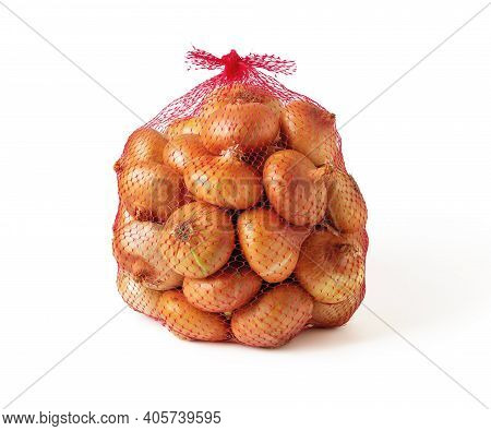 5 Kg Farm Onions In A Red Pp Mesh Bag Isolated On White Background. Polypropylene Net Sack With 11 L