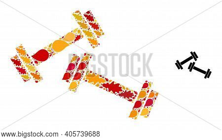 Barbells Mosaic Icon Done For Fall Season. Vector Barbells Mosaic Is Done Of Scattered Autumn Maple