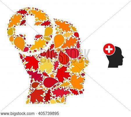 Head Treatment Mosaic Icon Organized For Fall Season. Vector Head Treatment Mosaic Is Shaped Of Rand