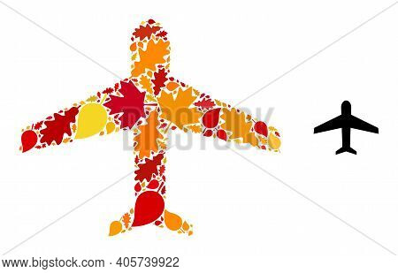 Airplane Mosaic Icon Created For Fall Season. Vector Airplane Mosaic Is Created With Scattered Fall
