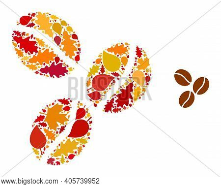 Coffee Beans Mosaic Icon Created For Fall Season. Vector Coffee Beans Mosaic Is Done From Scattered