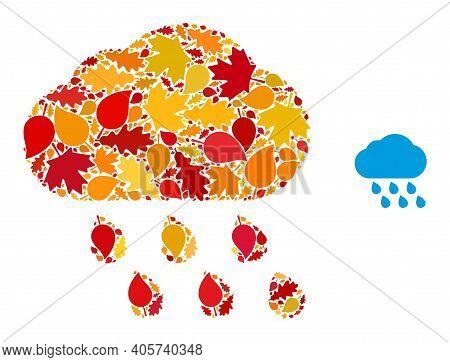 Rain Cloud Mosaic Icon Designed For Fall Season. Vector Rain Cloud Mosaic Is Formed From Randomized