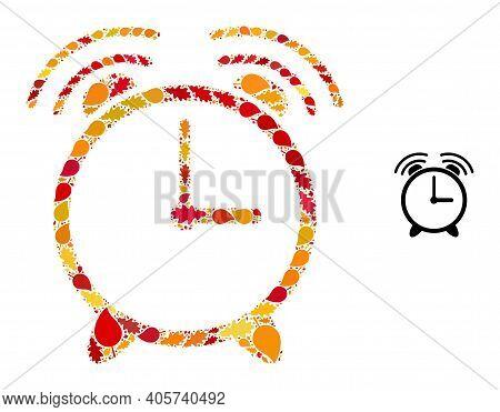 Alarm Clock Mosaic Icon Designed For Fall Season. Vector Alarm Clock Mosaic Is Composed Of Randomize