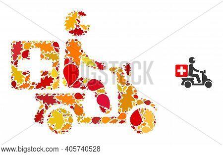 Medical Motorbike Mosaic Icon Designed For Fall Season. Vector Medical Motorbike Mosaic Is Construct