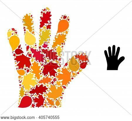 Hand Palm Mosaic Icon Organized For Fall Season. Vector Hand Palm Mosaic Is Organized With Randomize