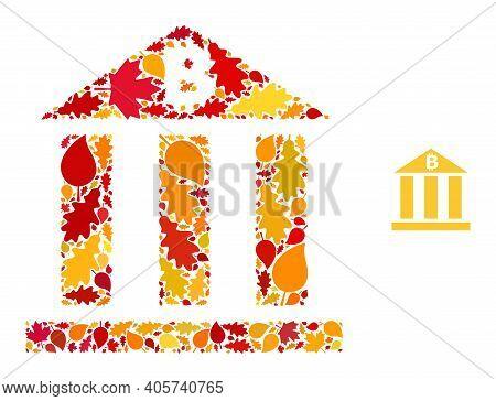 Bitcoin Bank Mosaic Icon Created For Fall Season. Vector Bitcoin Bank Mosaic Is Shaped With Randomiz