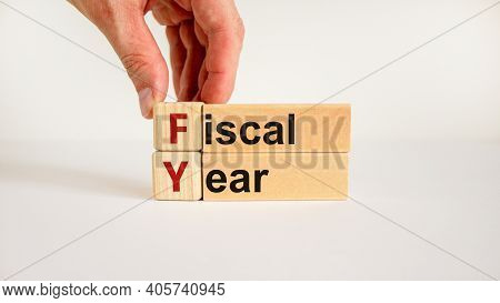 Fiscal Year Symbol. Concept Words 'fiscal Year' On Wooden Cubes And Blocks On A Beautiful White Back