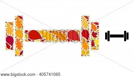 Barbell Mosaic Icon Organized For Fall Season. Vector Barbell Mosaic Is Organized From Scattered Aut