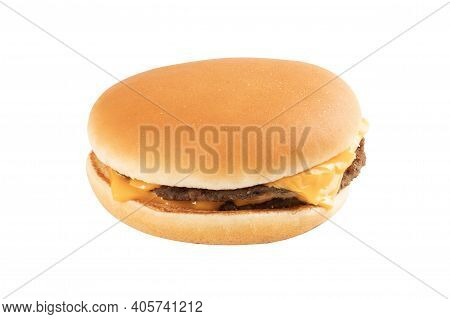 A Fresh Tasty Cheeseburger Isolated On A White Background. Fast Food.