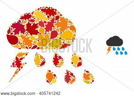 Thunderstorm Weather Mosaic Icon Constructed For Fall Season. Vector Thunderstorm Weather Mosaic Is