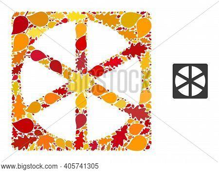 Pizza Box Mosaic Icon Created For Fall Season. Vector Pizza Box Mosaic Is Shaped With Random Autumn