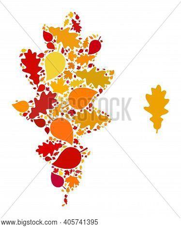 Oak Leaf Mosaic Icon Combined For Fall Season. Vector Oak Leaf Mosaic Is Designed With Randomized Au