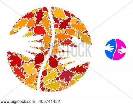 Cooperation Hands Mosaic Icon Designed For Fall Season. Vector Cooperation Hands Mosaic Is Organized