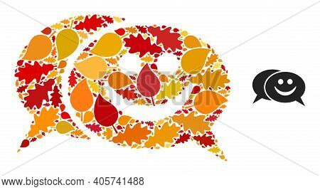 Happy Chat Mosaic Icon Designed For Fall Season. Vector Happy Chat Mosaic Is Shaped Of Random Autumn