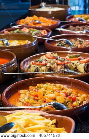Traditional Turkish Food In Clay Pot In A Turkish Restaurant.