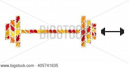 Barbell Mosaic Icon Designed For Fall Season. Vector Barbell Mosaic Is Designed Of Random Autumn Map