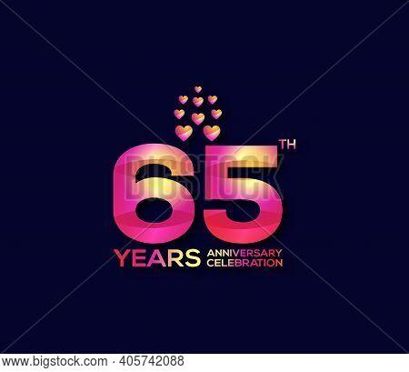 65 Year Anniversary Celebration Day Modern Background Concept