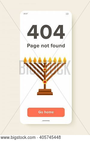 Multicolored Vector Icon Of Chanukah Menorah With Candle