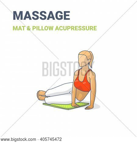 Female Lying On Ahip On An Acupressure Mat. Concept Of A Woman Relaxing At Home On A Massage Mat.