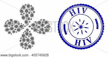 Bacilla Centrifugal Abstract Flower, And Blue Round Hiv Corroded Stamp With Icon Inside. Element Flo