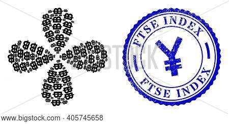 Bitcoin Currency Centrifugal Flower Cluster, And Blue Round Ftse Index Unclean Seal With Icon Inside