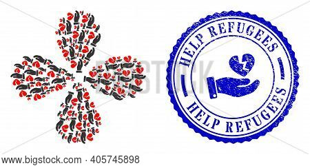 Break Heart Offer Swirl Twist, And Blue Round Help Refugees Textured Stamp Seal With Icon Inside. Ob